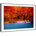 SC408 Orange Red Blue Waterfall Cool Nature Framed Wall Art Large Picture Prints