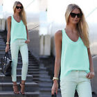 Womens V Neck Chiffon Sleeveless Vest Blouse Casual Tank Loose Summer Tops S-3XL