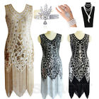 Vintage 1920s Flapper Dress Great Gatsby Party 20s Costume Sequin Fringe Dresses