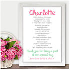 Personalised Bridesmaid Poem Thank You Gifts for Maid of Honour Chief Bridesmaid