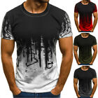 Mens T Shirt Slim Fit Casual T-shirt Tops Summer Clothes Bodybuilding Muscle Tee image