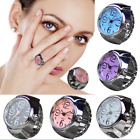 Women Dial Quartz Analog Finger Watch Creative Steel Cool Ring Elastic Watch Men