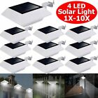 1 10X 4LED Solar Powered Light Outdoor Garden Security Wall Fence Yard Lights OY