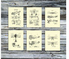 Vintage Airplanes Decor Wall art Set of 6 Unframed Cream Early Aviation Patents