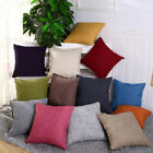 Vintage Linen Solid Pillow Case Sofa Waist Throw Cushion Cover Home Decor Noted