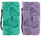 Pu Leather Wallet Case Flip Cover Card Slot Big Butterfly Embossed For Phones