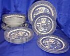 CHURCHILL Blue Willow China England Smooth Edge White Blue Plates Bowls Salad