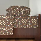 Guys Men Brown Beer Masculine Pretzels Organic Sateen Sheet Set by Roostery