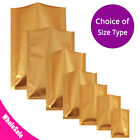 Many Sizes for Matte Gold Flat Foil Mylar Heat-Sealable Open Top Pouch Bag G03