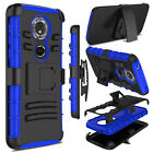 For Motorola Moto G6 Play/Forge Case Clip Hybrid Holster Rubber Hard Armor Cover