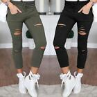 GB Womens High Waisted Skinny Ripped Denim Pants Slim Pencil Jeans Trousers