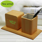 Led Sound Control Cube Wooden Alarm Clock Electronic Desk Clock Digital Table Wa