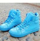 Womens New high top faux patent leather casual ankle boots sneakers plus sz