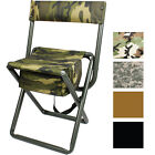 Deluxe Folding Stool with Seat Pouch Travel Chair Camo Military Camping Outdoor