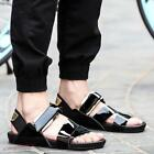 Mens casual faux patent leather Open toe Gladiator Sandals loafer shoes new