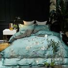 Embroidered Bedding Set 100% Cotton Duvet Cover Sheet King Floral 4pcs Queen T70