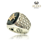 Masonic Sterling silver 925 with Yellow 10k Gold Ring