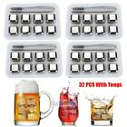 32x Stainless Steel Ice Cubes Chilling Rock Reusable for Whiskey Wine Drink USA