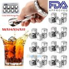 Внешний вид - 32x Stainless Steel Ice Cubes Chilling Rock Reusable for Whiskey Wine Drink USA