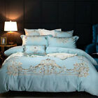 Quilt cover flat sheet 2 pillowcases Luxury Pure cotton embroidery Bedding set  image