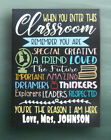 Teacher Sign Gift Wall Decor For Classroom Personalized Name Canvas
