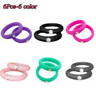 6PCs/Set Women Silicone Rubber Rings Band Wedding Gym Crossfit Lover Gifts