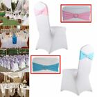50/100 Spandex Stretch Chair Cover Sash Bow Wedding Buckle Slider Sashes LOT OY