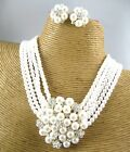 Faux Pearl Choker Statement Necklace Clip Earring Set Costume Fashion Jewelry