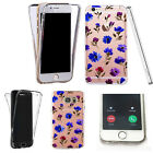 Silicone 360° Full Protection Cover Case For Most Mobiles blue floral