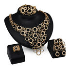 Fashion Women Gold Plated Crystal Bridal Jewelry Sets Necklace Earrings Set Prom