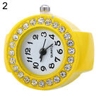 FASHION WOMEN GIRL SILICON ROUND RHINESTONE ELASTIC QUARTZ FINGER RING WATCH ALL