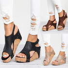 Womens Leather Ankle Strap Peep Toe Sandals Summer Platform Flat Shoes Size 41