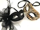 Black theme Masquerade Harlequin mask Pair Feather Costume Prom Halloween Party