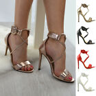 Womens Strappy Stiletto Ankle Strap Sandals Ladies Open Toe Party Shoes Size 3-8