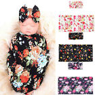 2Pc Newborn Infant Baby Swaddle Blanket Print Sleeping Wrap Headband Set 80X80cm