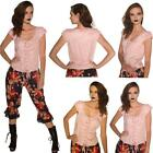 LIGHT PINK FLORAL LACE UP FRONT FITTED BODICE TOP BLOUSE ALTERNATIVE  STEAM PUNK