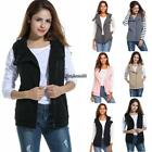 Women Casual Hooded Slim Solid Zip Up Spring Fleece Vest wit