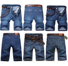 Mens Denim Shorts Summer Half Pant Casual Jeans Stretch Cargo Combat Denim Pants