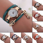 Fashion Women Leather Wrap Watch Crystal Analog Bracelet Quartz Wristwatch Gifts