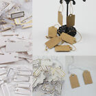 100Pcs Jewelry Merchandise Labels Price Tags Elastic String White Kraft Paper