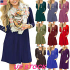 Women's Long Sleeve Pocket T-Shirt Dress Tunic Top Loose Swi