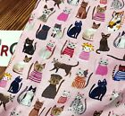 Mix cats BY HALF YARD 100% Cotton Fabric Pink Ivory cat kitten Quilting JB53+