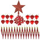 Complete Christmas Tree Decoration Set: Baubles, Harts, Droplets & Star Topper