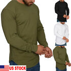 US Mens Long Sleeve Loose T Shirt Clothing Casual O Neck Tops Oversize Basic Tee image