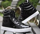 New korean Mens Lace Up round toe Sneakers High Top Casual Shoes 4 color