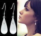 925 Sterling Silver Opal Moonstone Water Drop Teardrop Dangle Pierced Earrings