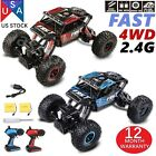 2PCS 4WD RC Monster Truck Off Road Vehicle 2.4G Remote Control Buggy Crawler Car