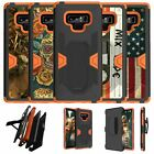 For Samsung Galaxy Note 9 SM-N960 Orange Silicone Holster & Kickstand Cover