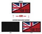 "Morale Personalized Text 2""x3.5"" BRITISH FLAG Patch W/Hook Fastener or Sew On."