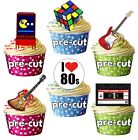 PRECUT 1980 80's Retro Party Themed Edible Cupcake Toppers Cake Decorations